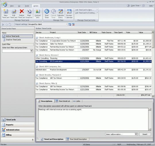 WorkCentrics for Microsoft Office Screenshot