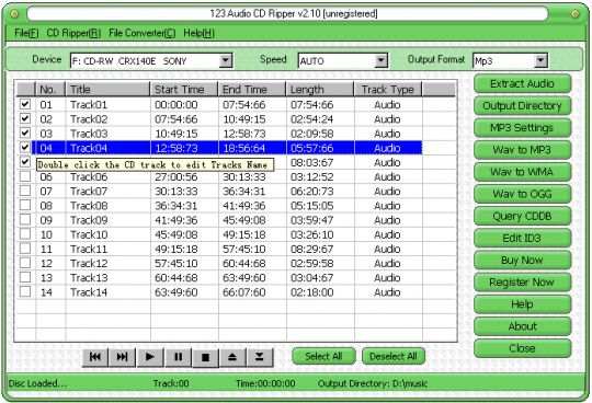 123 Audio CD Ripper Screenshot