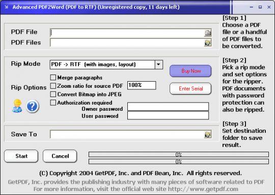 Advanced PDF2Word (PDF to RTF) Screenshot