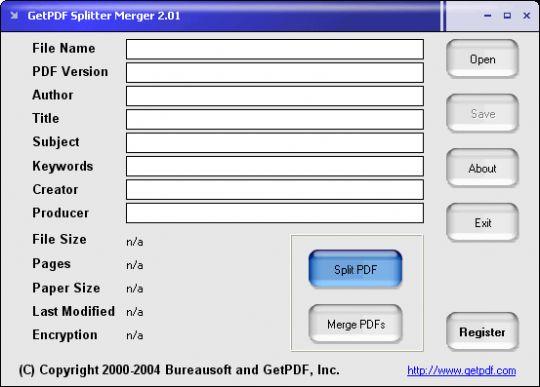 GetPDF Splitter Merger Screenshot