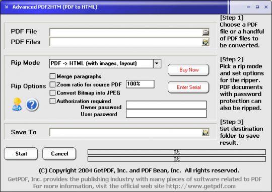 Advanced PDF2HTM (PDF to HTML) Screenshot