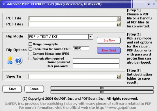 Advanced PDF2TXT (PDF to Text) Screenshot