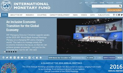 International Monetary Fund Website Screenshot