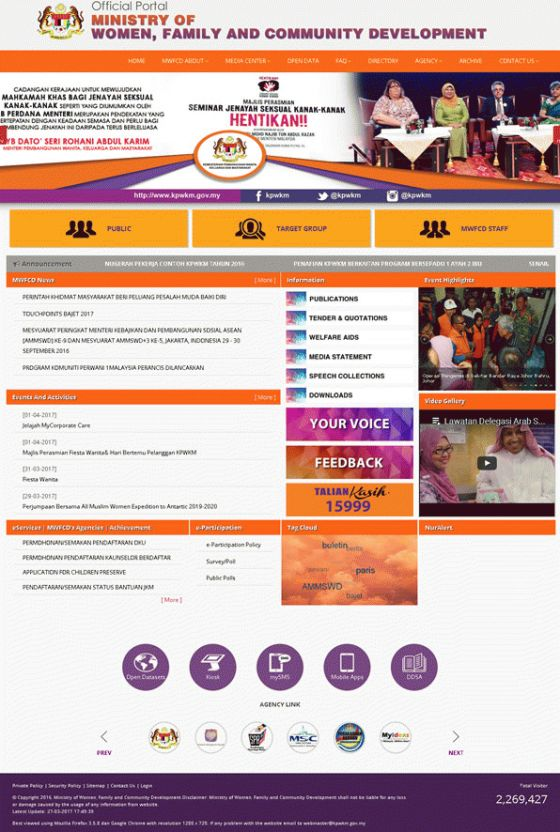 Ministry of Women, Family and Community Development Screenshot