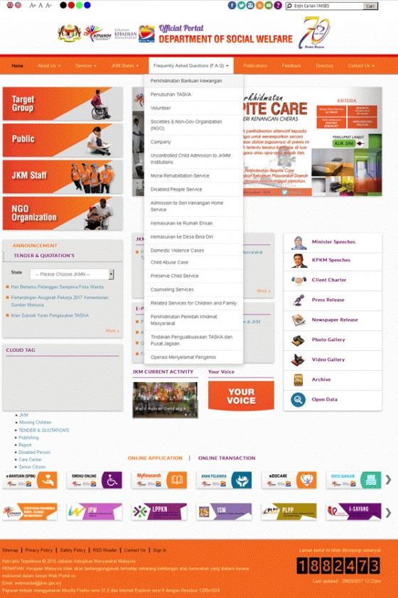 Department of Social Welfare Malaysia Screenshot