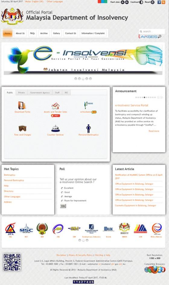 Jabatan Insolvensi Malaysia (JIM) Screenshot