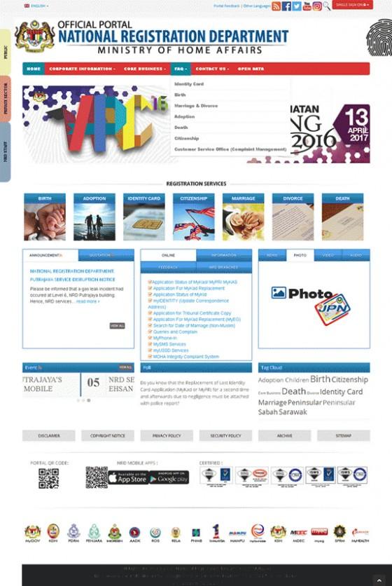 National Registration Department (NRD) Malaysia Screenshot