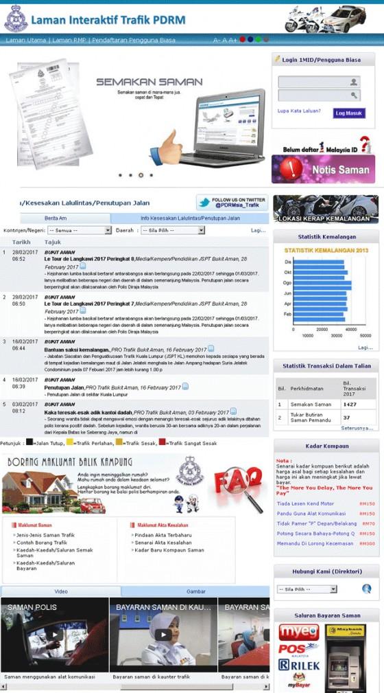 Laman Interaktif Trafik PDRM Screenshot