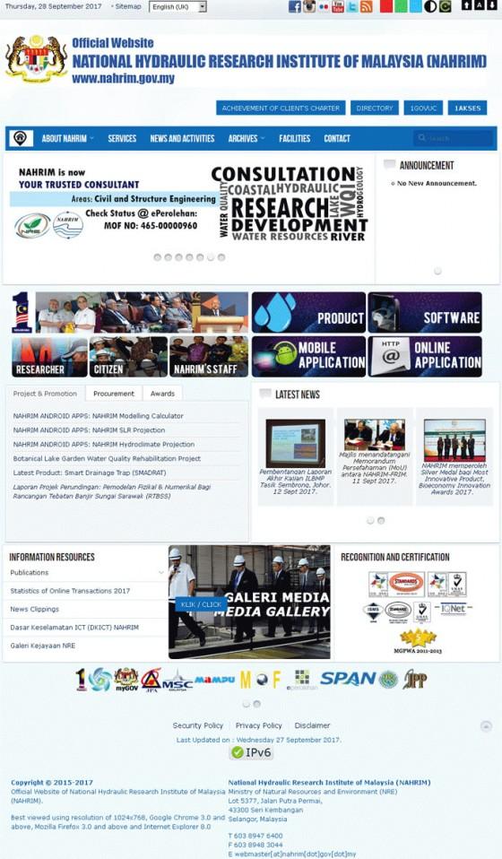 Institut Penyelidikan Hidraulik Kebangsaan Malaysia Screenshot
