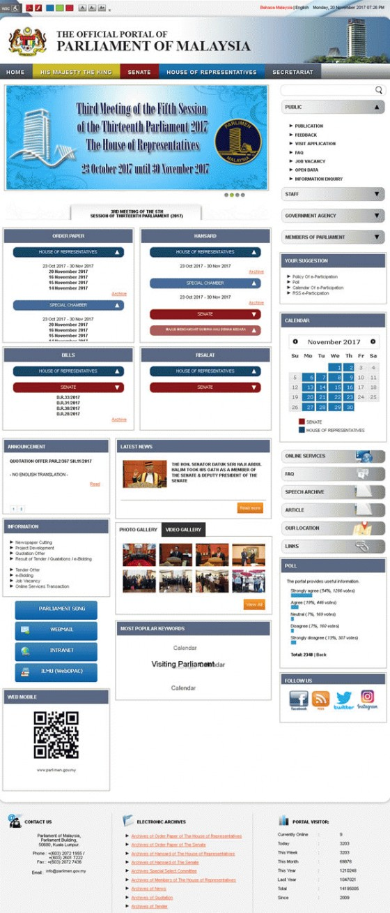 Parliament of Malaysia Screenshot