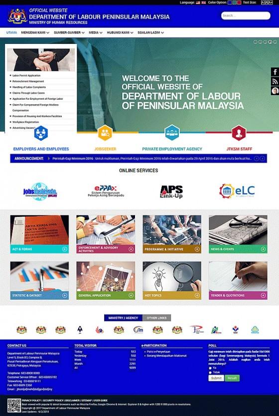 Jabatan Tenaga Kerja Semenanjung Malaysia (JTKSM) Screenshot