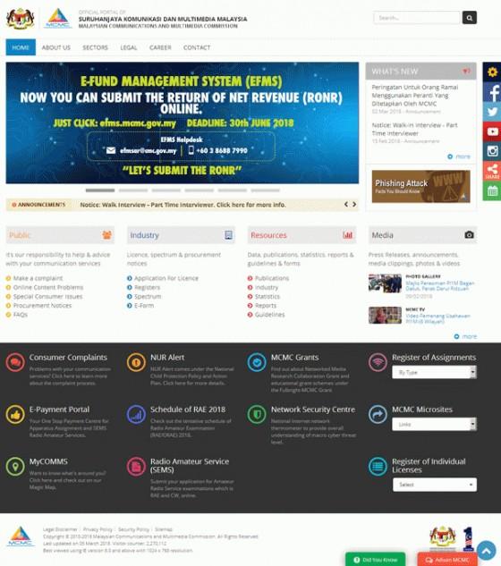 Malaysian Communications and Multimedia Commission Screenshot