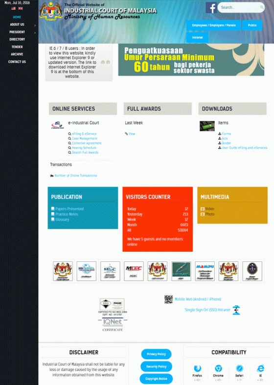 Industrial Court of Malaysia Screenshot