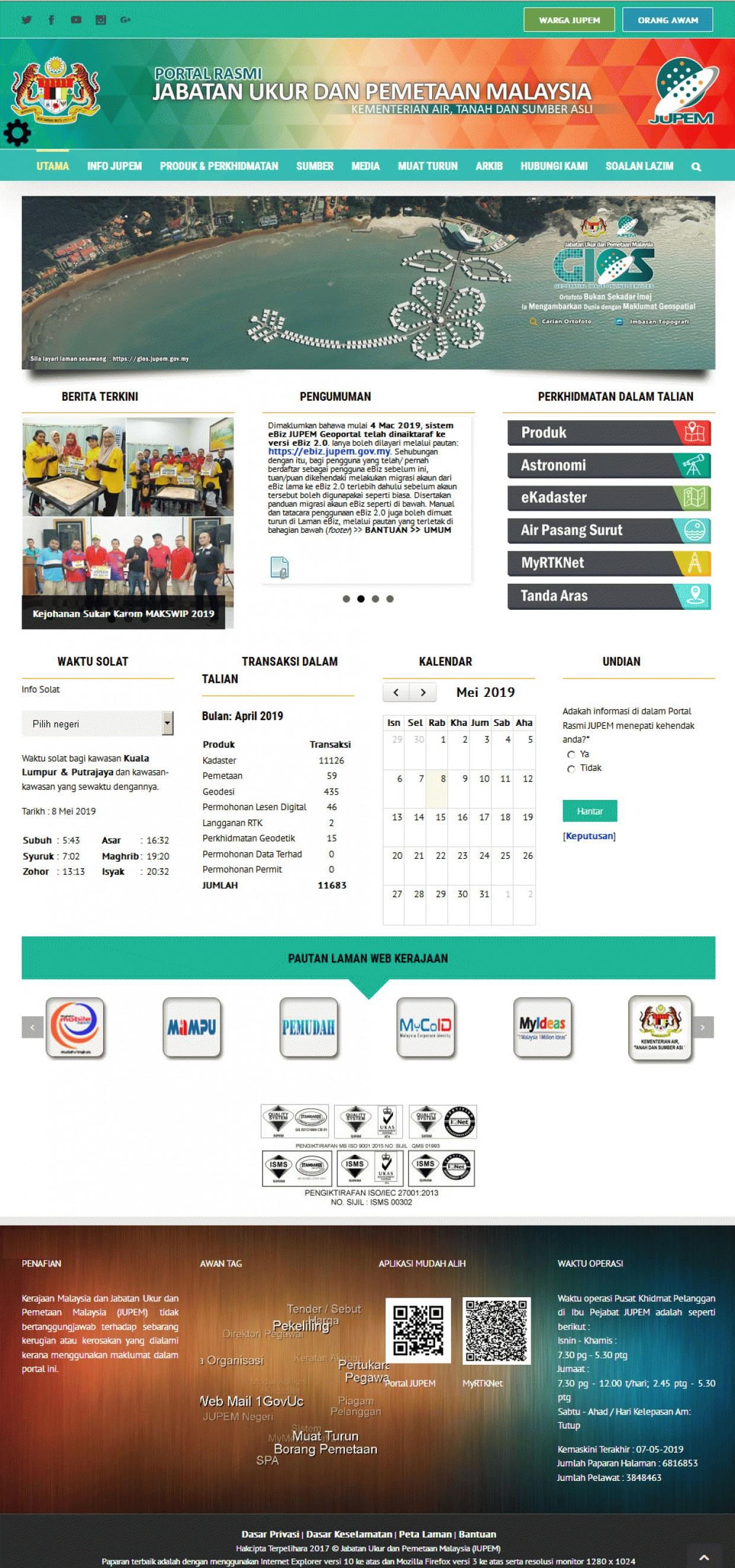 Screenshot Jabatan Ukur Dan Pemetaan Malaysia (JUPEM)