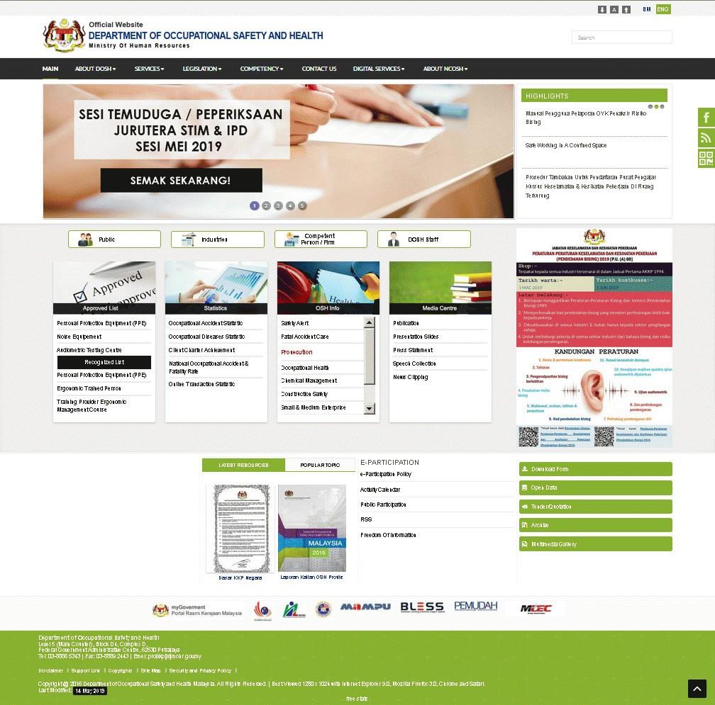 Screenshot of Jabatan Keselamatan dan Kesihatan Pekerjaan (JKKP)