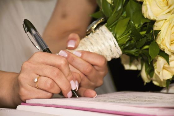 Signing Marriage Papers